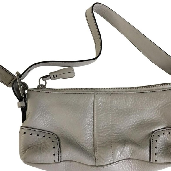 Coach Handbags - Coach Mini Purse Grey Leather Tote